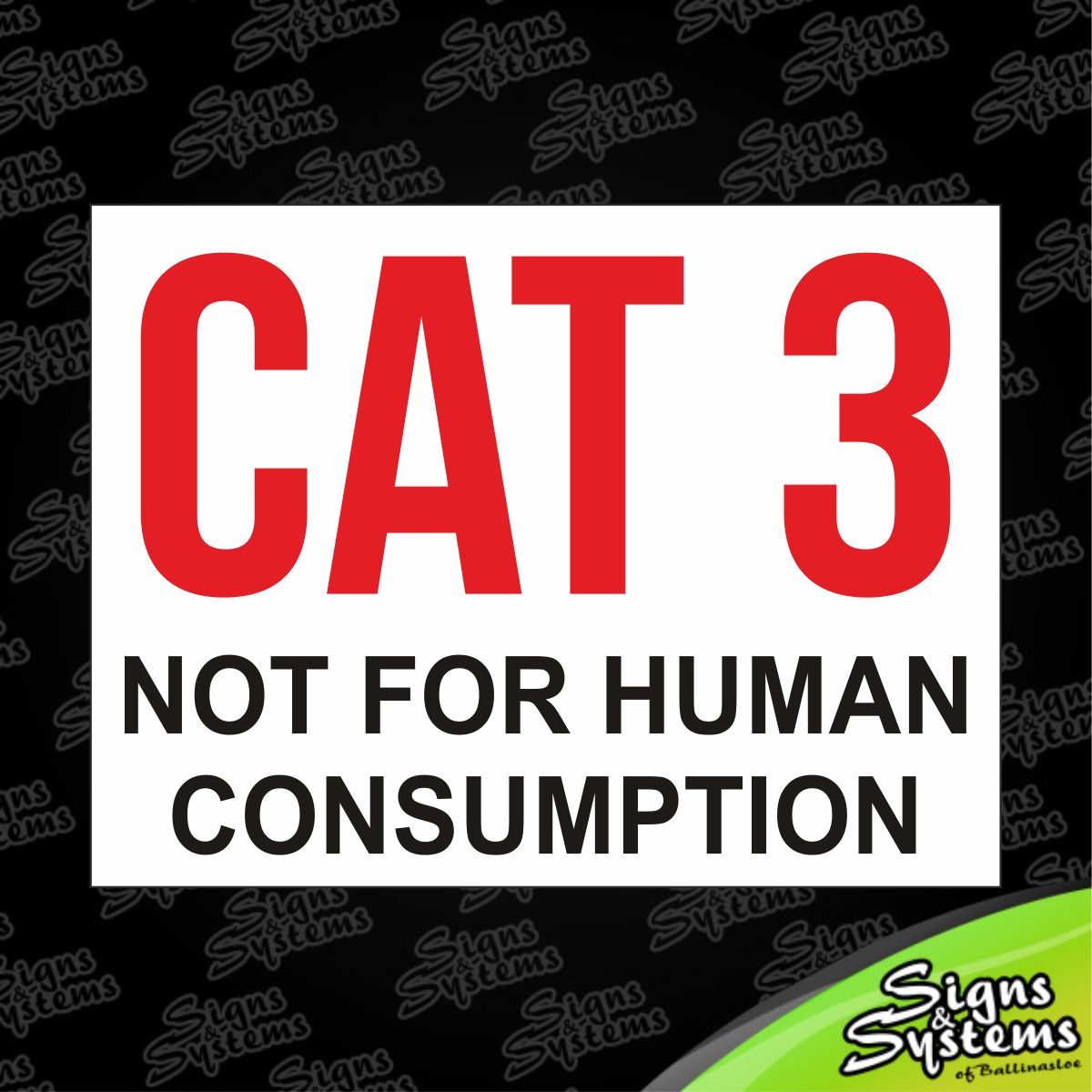 Plastic Seat Covers >> Signs & Systems - Cat 3
